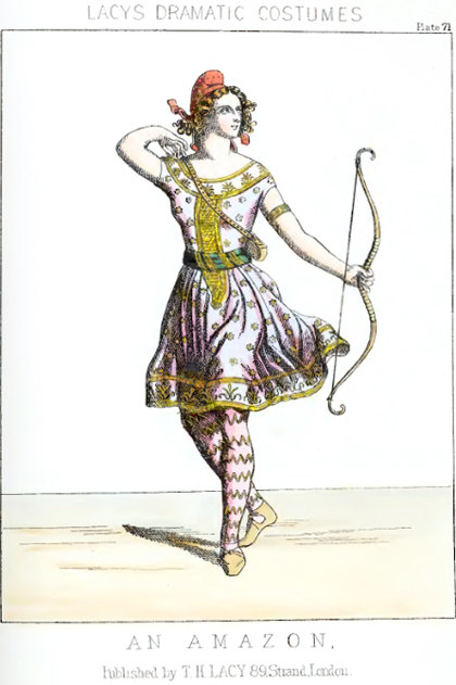 "Fashion plate for ""Amazon Costume"" from Lacy's Dramatic Costumes"