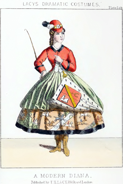 "Fashion plate for ""A Modern Diana"" from Lacy's Dramatic Costumes"