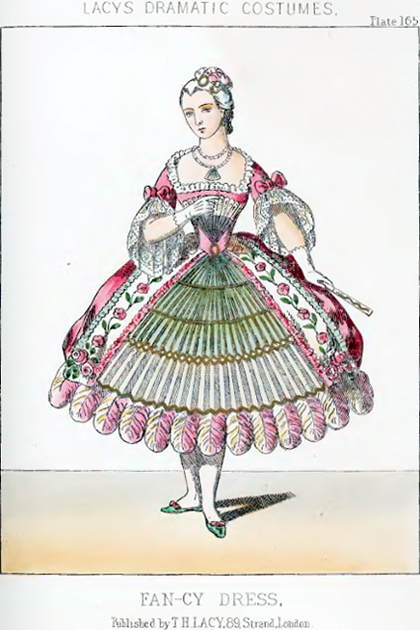 "Fashion plate for ""Fan-cy Dress"" from Lacy's Dramatic Costumes"
