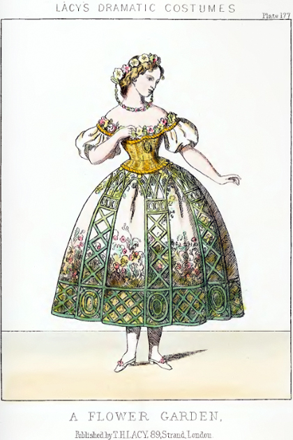"Fashion plate for ""Flower Garden"" from Lacy's Dramatic Costumes"
