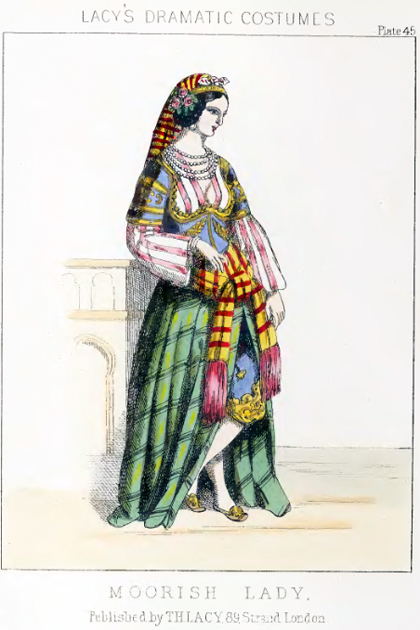 "Fashion plate for ""A Moorish Lady"" from Lacy's Dramatic Costumes"