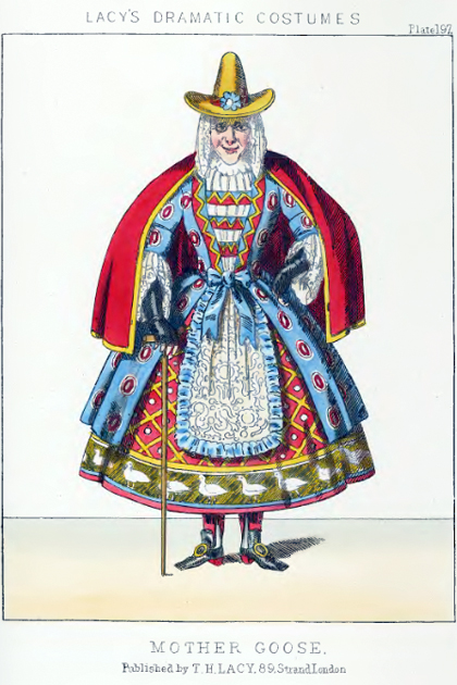 "Fashion plate for ""Mother Goose"" from Lacy's Dramatic Costumes"